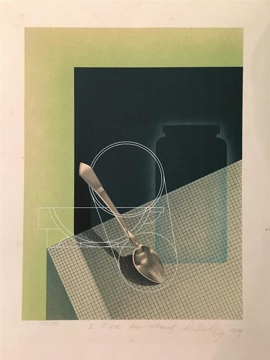 Victor Vasarely 1906-1997 (Hungarian, French) Still life with teaspoon lithograph