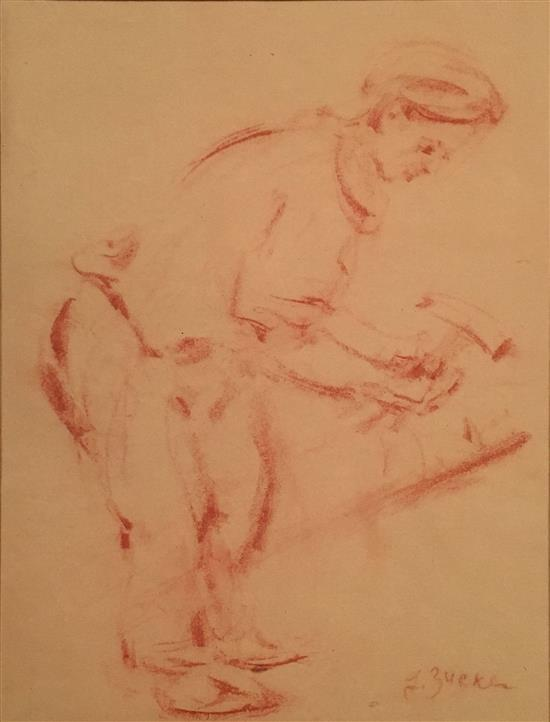 Jacques (Jakub) Zucker 1900-1981 (American) Worker red chalk on paper