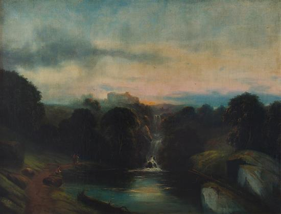 Unidentified German artist late 19th c. Sunset, 1873 oil on canvas