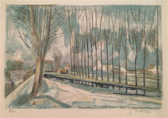 Joseph Pressmane 1904-1967 (French) Landscape lithograph