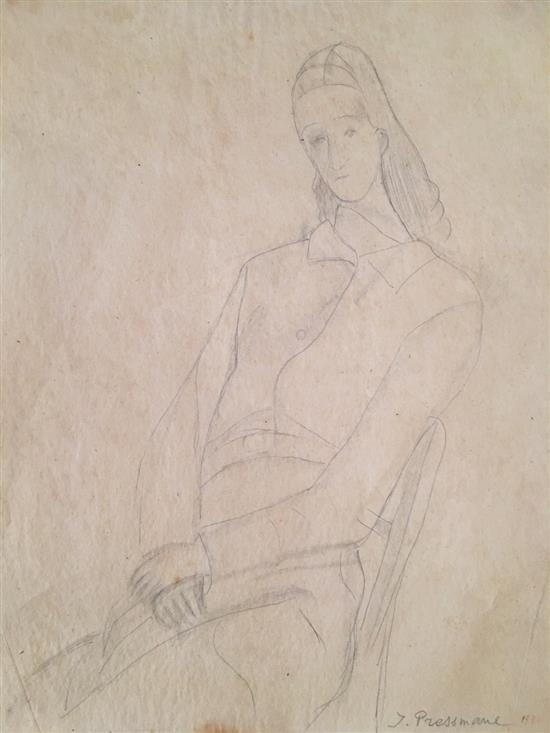 Joseph Pressmane 1904-1967 (French) Woman, 1931 pencil on paper