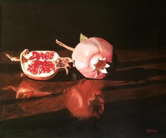 Arie Azene b.1934 (Israeli) Pomegranate oil on canvas