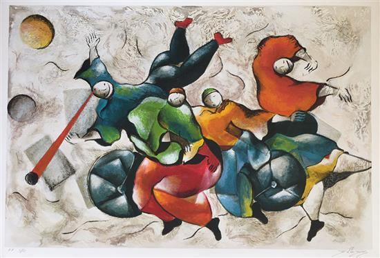 David Schluss b.1943 (Israeli) Dancing the music silkscreen print on paper