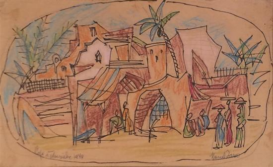 Marcel Janco 1895-1984 (Israeli) Coffee shop in Tiberia, 1944 india ink and colored crayons on paper