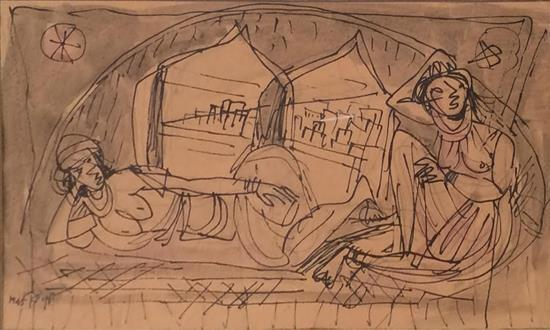 Marcel Janco 1895-1984 (Israeli) Women in Acre, 1945 india ink and wash on paper