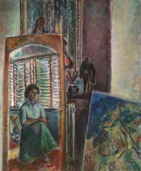 Chaya Schwartz 1912-2001 (Israeli) Woman in interior oil on canvas
