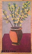 Moshe Elnatan 1904-1969 (Israeli) Vase of flowers on purple table cloth oil on board