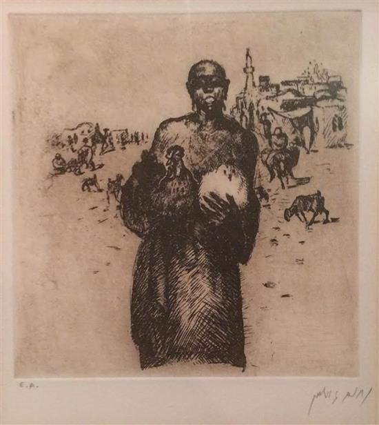 Nachum Gutman 1898-1980 (Israeli) 'The Chicken Seller' (1920) ' from the Eretz Israel portfolio. Published 1979. etching