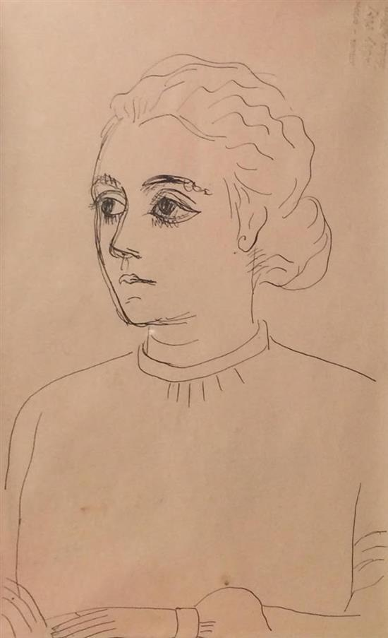 Nachum Gutman 1898-1980 (Israeli) Portrait of Dora, the artist's wife, 1940's india ink on paper