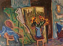 Shimshon Holzman 1907-1986 (Israeli) Interior with a vase of flower, 1950s oil on cardboard