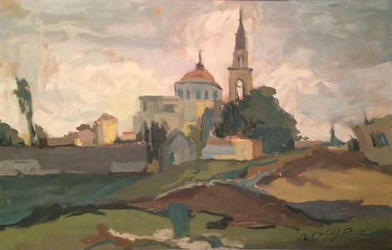Moshe Bernstein 1920-2006 (Polish) Nazareth, 1956 oil on cardboard