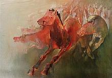 Edwin Salomon b.1935 (Israeli) Red horses oil on canvas