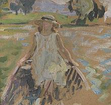 **Henri Lebasque 1865-1937 (French) Young girl in the boat, 1912 oil on cardboard