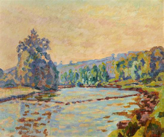 **Armand Guillaumin 1841-1927 (French) Le barrage de Genetin, Crozant, c.1920 oil on canvas
