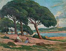 **Maximilien Luce 1858-1941 (French) Pine trees near Saint Tropez, 1904 oil on cardboard