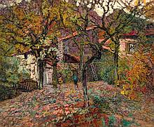 **Victor Leon Charreton 1864-1937 (French) House between the autumn trees oil on artist board