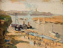 Elie Anatole Pavil 1873-1948 (Ukrainian, French) Port landscape oil on canvas