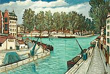 **Alphonse Léon Quizet 1885-1955 (French) Saint-Martin channel, Paris oil on canvas