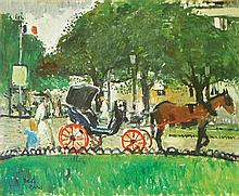 **François Gall 1912-1987 (French) La calèche au cheval, Rond Point des Champs Elysées oil on board