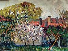 **Albert Malet 1902-1986 (French) Apple trees in blossom oil on cardboard