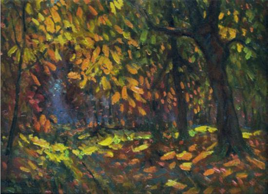 **Albert Malet 1902-1986 (French) Autumn forest oil on panel