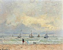 **André Hambourg 1909-1999 (French) Windy weather at the beach, 1960 oil on canvas