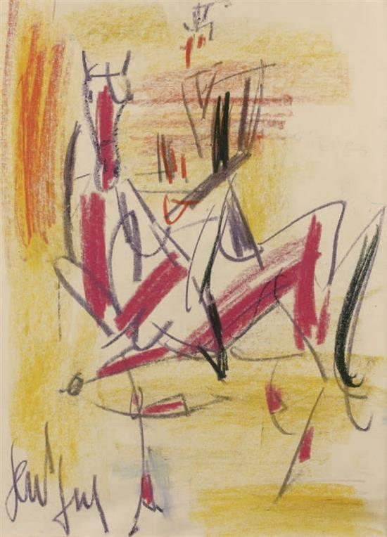 **Gen Paul 1895-1975 (French) Horseman pastel crayons on paper