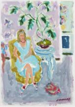 **Jean Jules Louis Cavaillès 1901-1977 (French) Seated woman in interior oil on paper