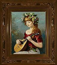 **Marcel Dyf 1899-1985 (French) Claudine a la mandoline, 1965 oil on canvas