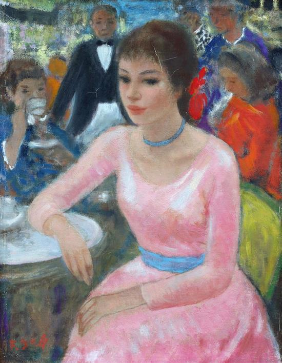 **Franחois Gall 1912-1987 (French) Young girl in the cafe oil on canvas