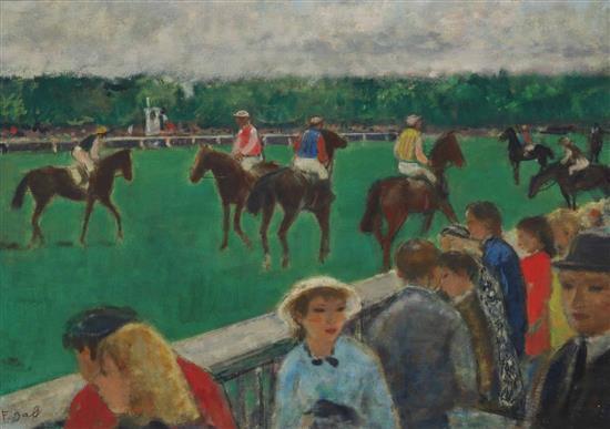 **François Gall 1912-1987 (French) Les parieurs au champ de courses, Paris, c.1960 oil on canvas