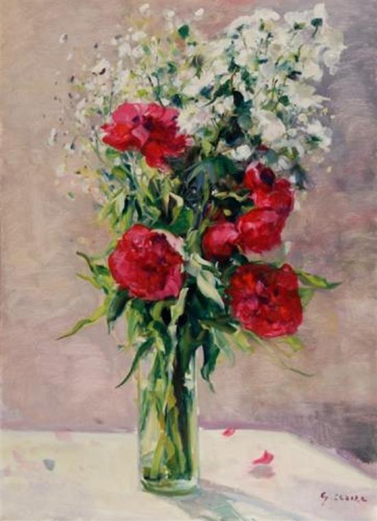 **Gaston Sébire 1920-2001 (French) Flower bouquet oil on canvas