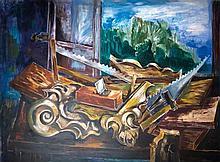Valentine Prax Zadkine 1899-1981 (French) Carpenter's workshop oil on canvas