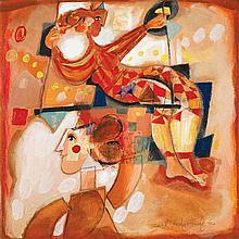 **Yoel Benharrouche b.1961 (Israeli) Composition rouge oil on canvas
