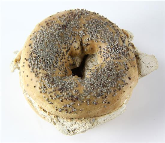 **David James Gilhooly 1943 - 2013 (American) Bagel with cream cheese, 1980 glazed ceramic sculpture