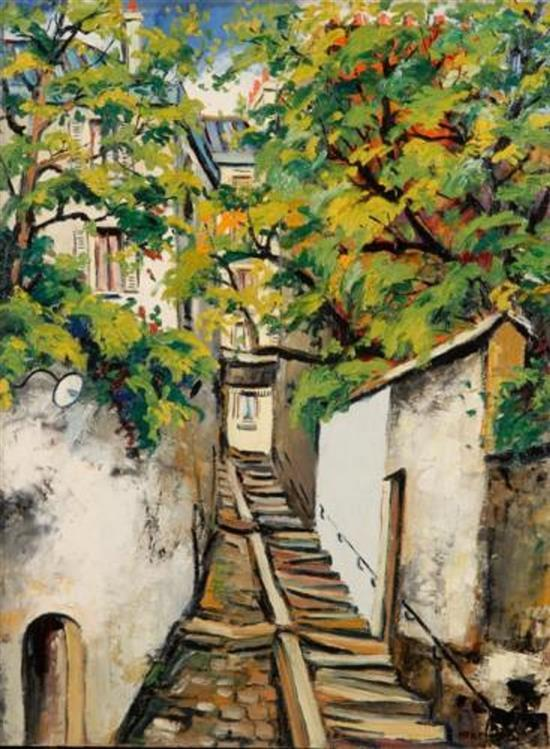 **Elisée Maclet 1881-1962 (French) Stairs leading to Montmartre oil on panel