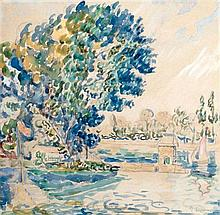 **Paul Signac 1863-1935 (French) Banks of Seine watercolor on paper