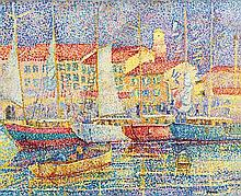 **Yvonne Canu 1921-2008 (French) Boats in port of Saint-Tropez oil on canvas