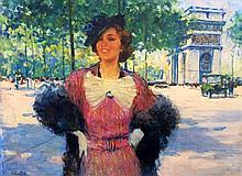 **Victor Guerrier 1893-1968 (French) Lady near Arc de Triomphe oil on canvas