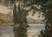 **Georges Jules Ernest Binet 1865-1949 (French) River landscape oil on panel
