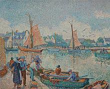 **Yvonne Canu 1921-2008 (French) Port breton oil on canvas