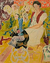 **Jean Jules Louis Cavaillès 1901-1977 (French) Woman in interior with flowers, 1944 oil and gouache on paper