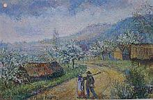 **Hugues Claude Pissarro b.1935 (French) Returning from the field pastel crayons on paper