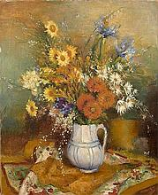 **Marcel Dyf 1899-1985 (French) Quatre soucis et deux iris, c.1930 oil on canvas