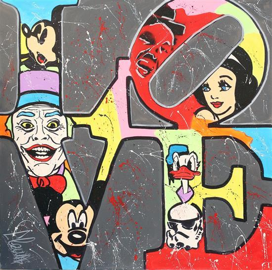 Clem$ b.1974 (French, Israeli) Love mixed media on canvas