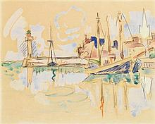 **Paul Signac 1863-1935 (French) The port of Saint-Omer watercolor and charcoal on paper