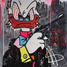 Clem$ b.1974 (French, Israeli) My name is Duck, Donald Duck mixed media on canvas