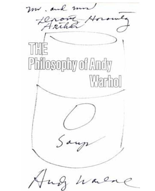 **Andy Warhol 1928-1987 (American) Soup felt tip pen on frontispiece of book The Philosophy of Andy Warhol