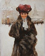**Victor Guerrier 1893-1968 (French) Woman with fur sleeve at Place de la République oil on canvas