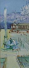 **Jean Dufy 1888-1964 (French) Paris, place de la Concorde oil on panel